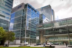 LONDON, CANARY WHARF UK - MAY 16, 2014: - Modern glass architect