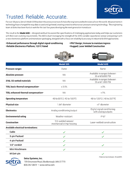 Flyer Thumbnail for Model AXD Product Comparison Chart
