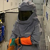 Technician wearing a PPE suit