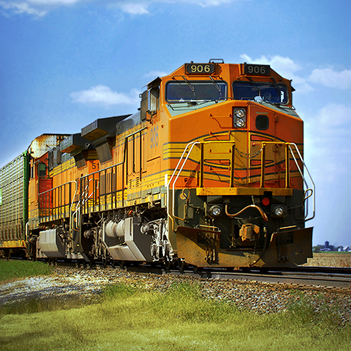 Large train carrying cargo.