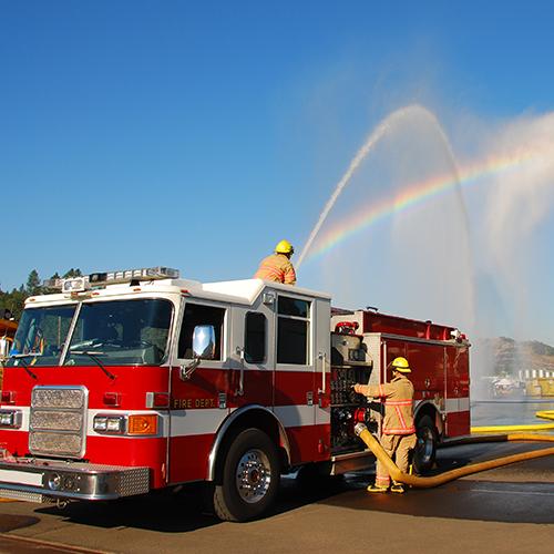Fire engine spraying water